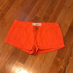 Hollister Orange Low-Rise Shorts